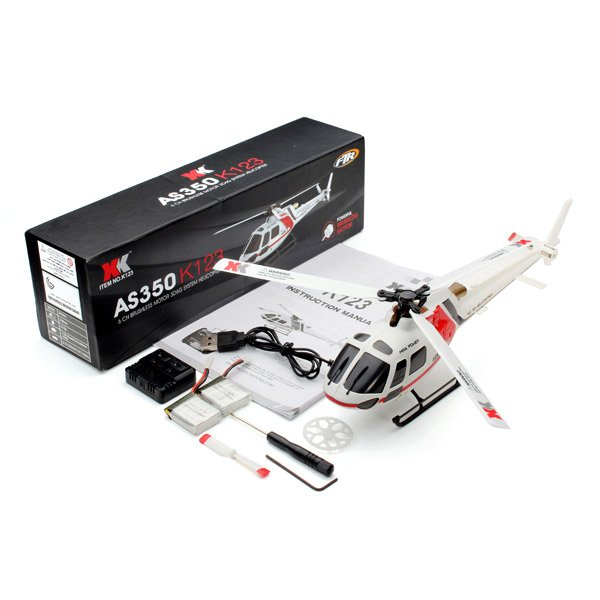 XK K123 6CH Brushless AS350 Scale 3D6G System RC Helicopter BNF_Sold Out