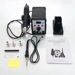 YiHUA-8786D 2-in-1 110V Soldering Station + Hot Fire Gun + Soldering Iron Kit (US Standard) Black