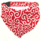 Dog KARAKUSA Bandana Collar RED L size (Dog Collar + Bandana)