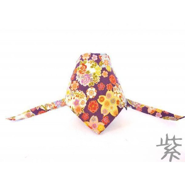 "Dog Bandana for Japanese chirimen(crepe) pattern ""Purple"""