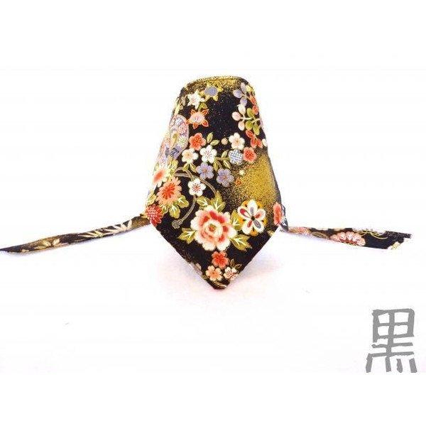 """Dog Bandana for Japanese chirimen(crepe) pattern """"Black"""""""