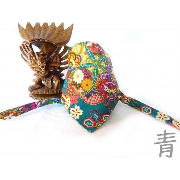 "Dog Bandana for Japanese chirimen(crepe) pattern ""Blue"""