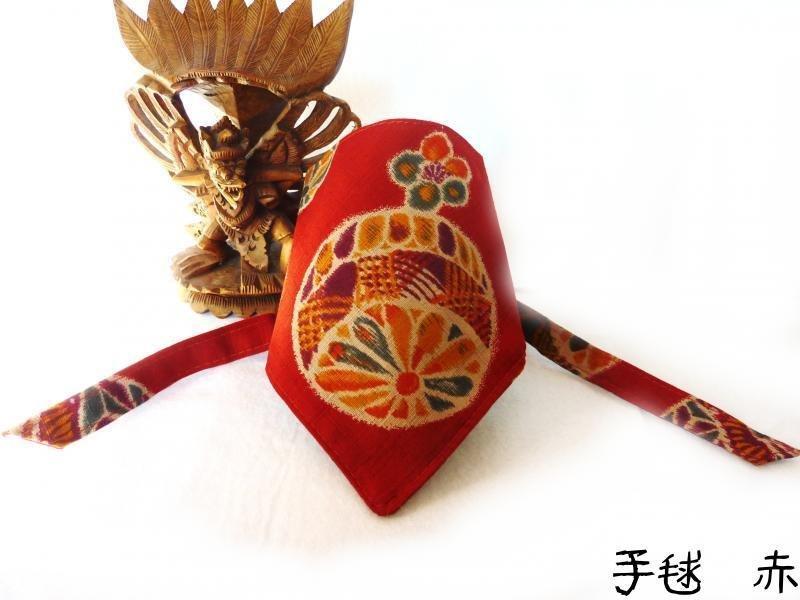 "Dog Bandana for Japanese Temari Pattern ""Red"""