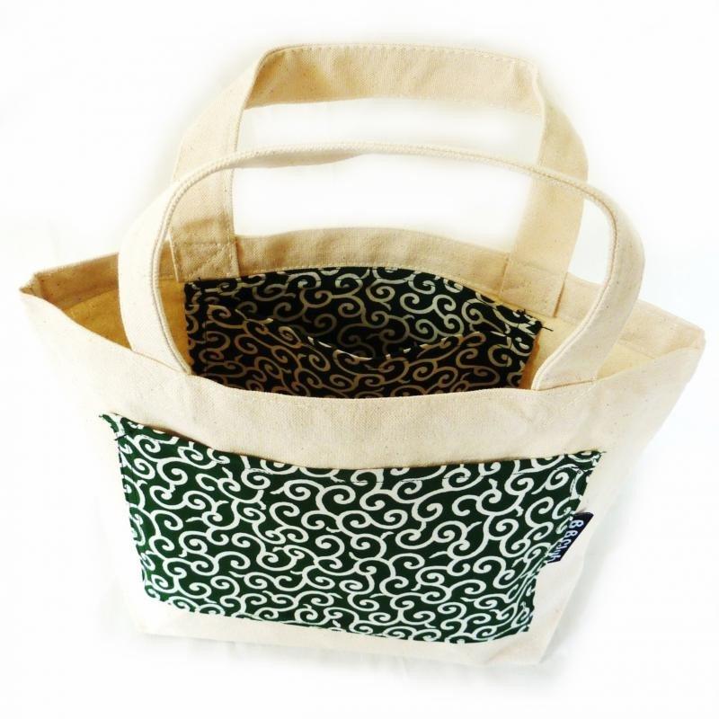 Tote bag Japanese KARAKUSA Small-patterned Green