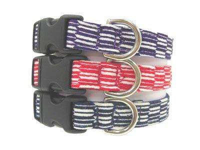 "Japanese dog ""yagasuri"" (arrow pattern)  Collar Navy Blue M size"