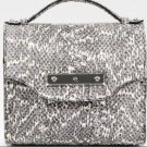 RARE Alexander Mcqueen Gray Python-print Leather and Wood Box Bag