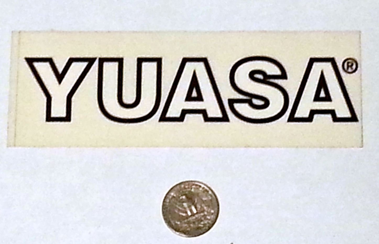 "Yuasa sticker - 5 3/4"" x 2"""