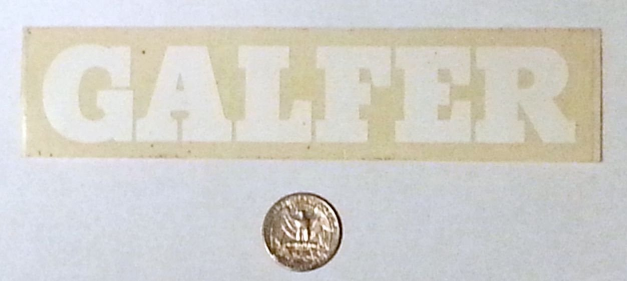"Galfer sticker, white/clear - 6 7/8"" x 1 1/2"""