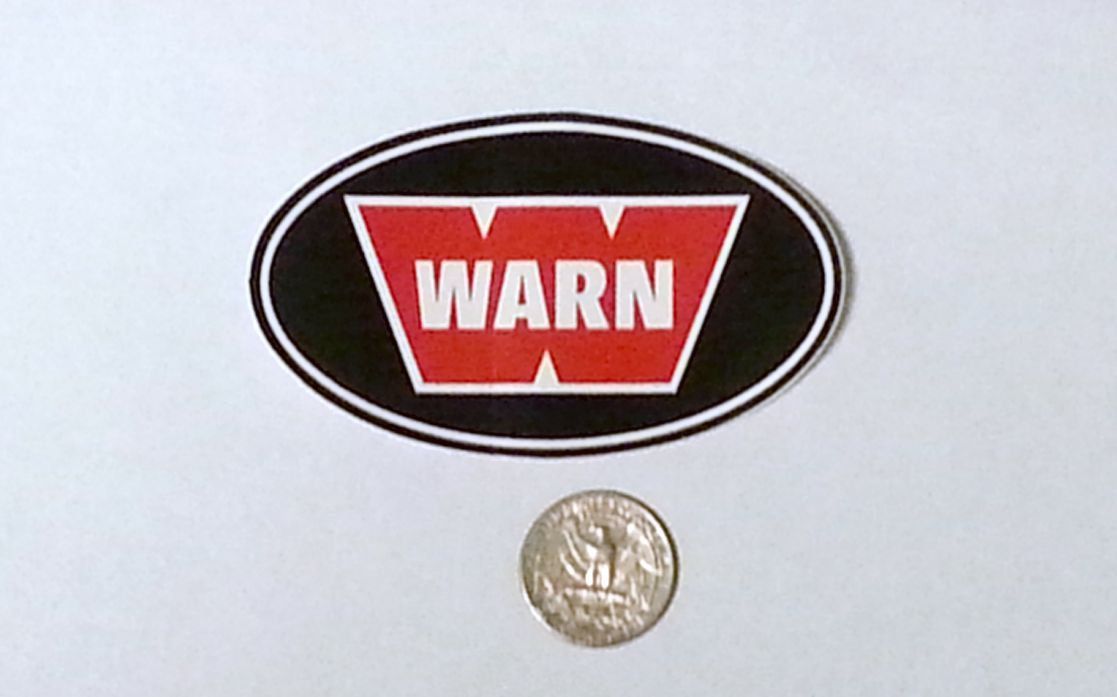 "Warn sticker - 3 1/2"" x 2 1/8"""