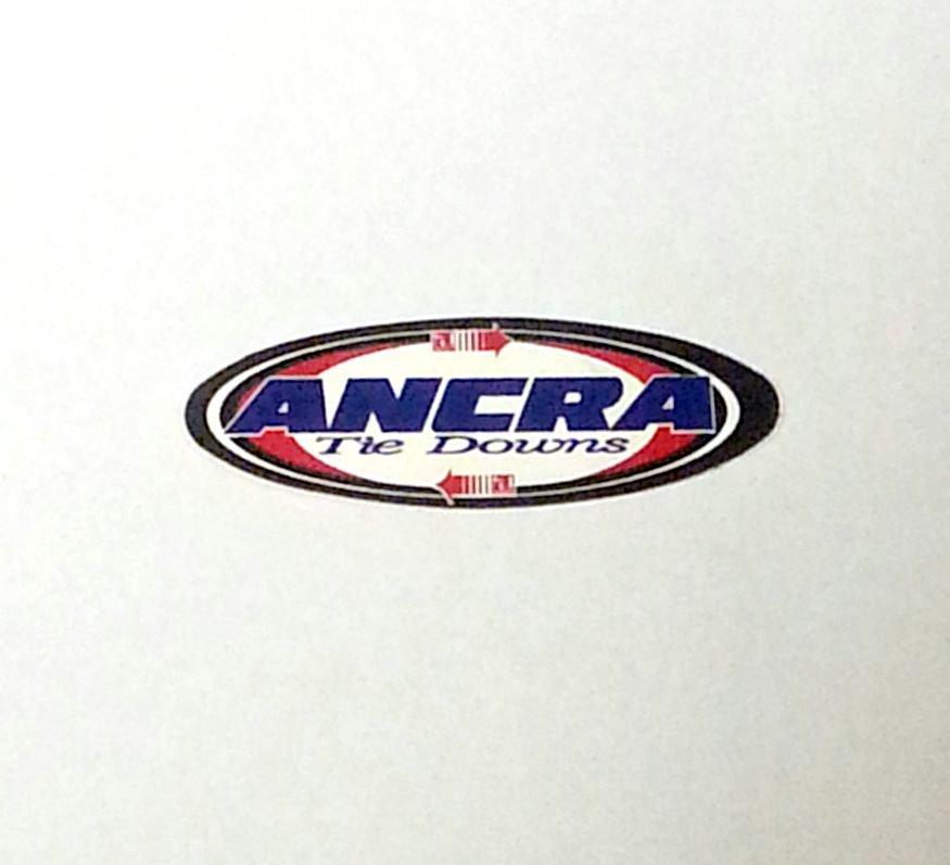 "Ancra Tie-downs sticker - 3 5/8"" x 1 1/8"""