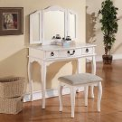 Poundex F4094 White Vanity Set with Stool