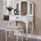 Poundex F4069 White Vanity Set with Stool
