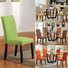 Set of 2 Saddle Hazelnut Orange Green Microfiber Seat Parson Design Dining Chair