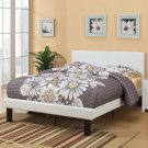 Cream White Faux Leather Square Stitching Platform Twin Full Bed