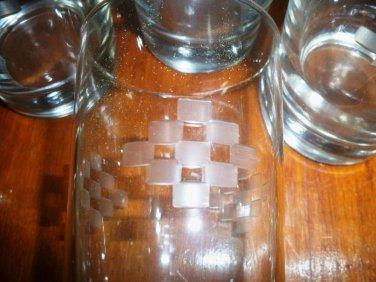 Set of Six Geometric Fostoria Pattern Etched Glasses
