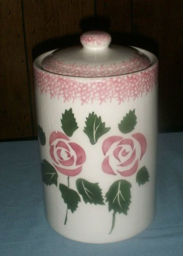Hand Painted Pink Roses Vase / Planter / Cookie / Biscotti Jar