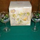 Set of Four Hand Painted Floral Wine Goblets