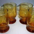 Vintage Set of Four Amber Juice / Rocks Glasses