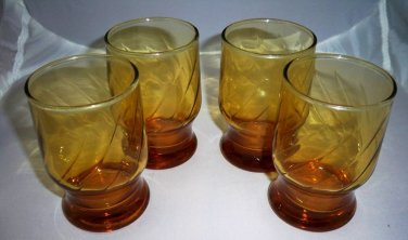 Vintage Set of Four Amber Juice / Rocks Glasses