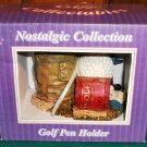 Limited Edition Hand Painted Golf Pen Holder  --- NIB