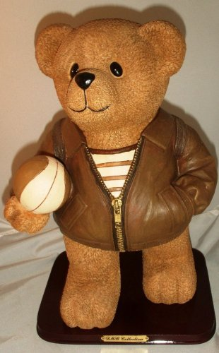 Collectable Vintage Bear Cub Statue With Backpack and Ball