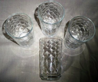 Set of Four Large Glass Libbey Drink  Tumblers