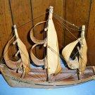 Vintage Wood Souvenir Sailing Ship Acapulco