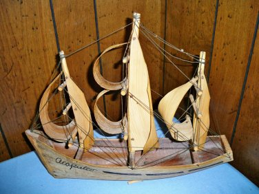 Vintage Wood Souvenir Sailing Ship Acapulco