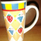 Vintage Tall Painted Fruit Coffee / Tea Mug