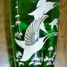 Vintage Emerald Green Glass Vase - Wild Geese