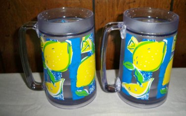 Two  Thermo-Serv Water Filled Freeze Mug/Stein  - Lemons
