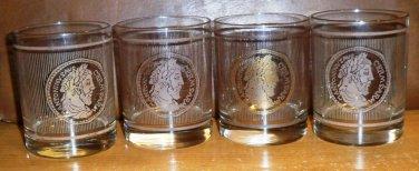 Set of 4 Ancient Coin Design 14oz Glasses
