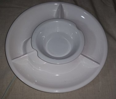 White Ceramic Lazy Suzan with Warming Center Dip Cup