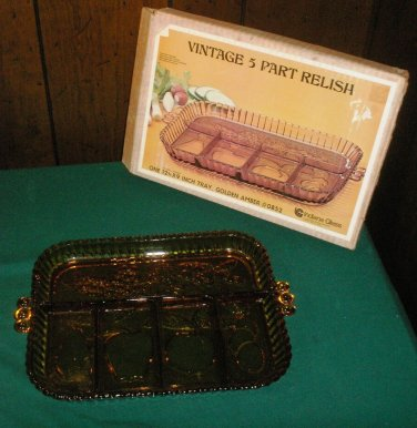 Vintage Amber Indiana Glass 5 part Relish Tray