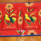 Artimino Red Rooster Pattern Four  Section Ceramic Condiment Tray