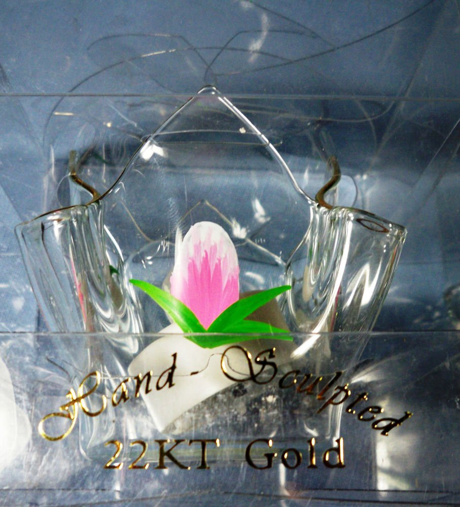 Hand Sculpted Glass Lily Candle Holder 22K Gold Trim -NIB