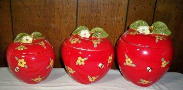 Set of 3 Susan Winget Apple / Flower Ceramic  Canister Set