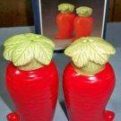 Vintage Veggie Ceramic Carrot Salt and Pepper Shakers