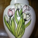 White Ceramic Urn/Vase - Spring Flowers