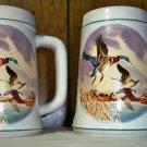 Set of 2 Vintage Country Den Tankard Mallard Duck Stein