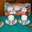 Vintage Paul Revere Silversmiths Silver Plated Demi Tasse Set For Four
