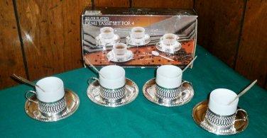 Vintage Paul Revere Silversmiths Silver Plated Demi Tasse Set For Four