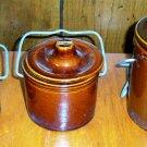 Set of Three Antique Brown Stoneware Cheese Crocks