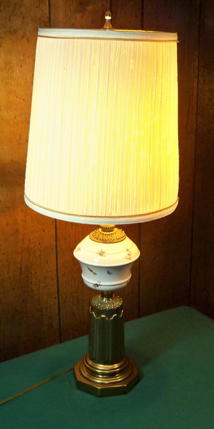 Vintage Brass and Ceramic Table Lamp- Butterflies