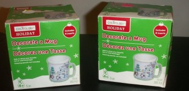 CLEARANCE!! Set of Two  Holiday Decorate-a-Mugs with  inserts