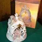 CLEARANCE!! Porcelain Bell Nativity Lamp with Gold Accents