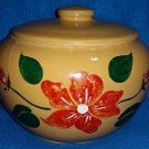 Vintage Poinsettia Holiday Season Cookie /Biscotti Jar