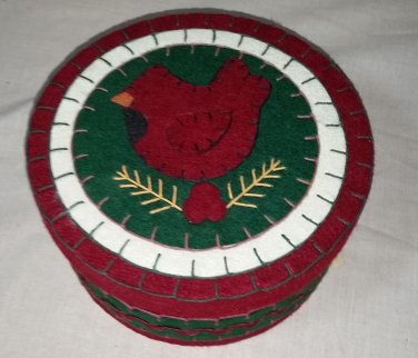 Beautiful Quality Cardinal Cloth Covered Container