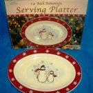 CLEARANCE-  Royal Seasons Holiday Snowman Stoneware 14 inch Serving Platter