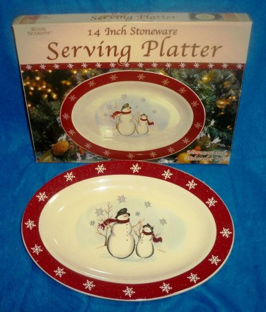 CLEARANCE-  Royal Seasons Holiday Snowman Stoneware 14 inch Serving Platter